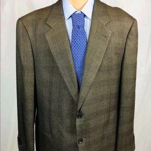 Armani Collezioni Cashmere Silk Brown Plaid 46L